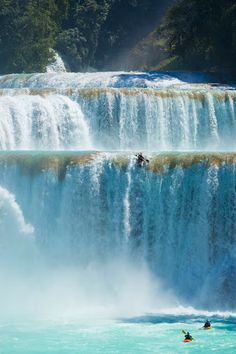 Google+  The Cataratas de Agua Azul are found in the Mexican state of Chipas. This waterfall consists of many cataracts following one after another.  Photo © Lane Jacobs.
