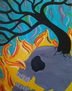 8x10 Skull with Tree and Fire Lustre Print by ToniTiger415 on Etsy