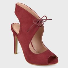 Women's Journee Collection Lace-up Open Toe High Heels - Red Wine 8.5
