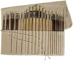 Art Advantage Oil and Acrylic Brush Set, 24-Piece       This includes 2 separate sets of 24 piece brush sets. Bundle and save!     Free canvas brush roll-up     Long handle brushes     Synthetic and natural bristle brushes     Perfect for oil and acrylic paint
