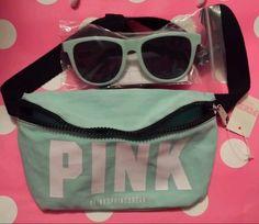 Victoria's Secret Pink Fanny Pack Sunglasses Set 2015 Spring Break Mint  #VictoriasSecret #Fannypack