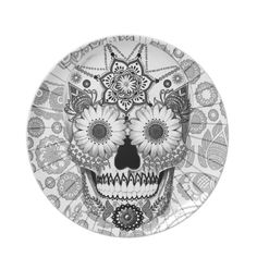 Sugar Skull Bleached Bones - Day of the Dead Art Dinner Plates