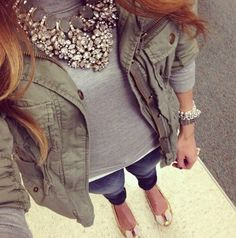 green/gray on top, jeans & metallic gold flats