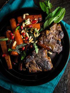 Pomegranate-Glazed Lamb Chops and Carrots. #food
