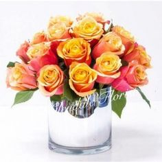 Lovely Peach Roses in a Vase