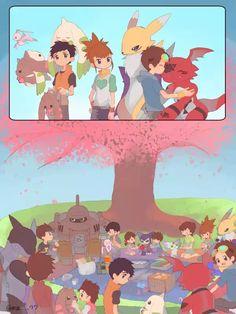 Under cherry blossoms Digimon Wallpaper, Animated Cartoon Characters, Digimon Tamers, Fanart, Digimon Adventure Tri, Kawaii, Manga, Cherry Blossoms, Anime