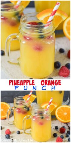 Best Pineapple Orange Punch Recipe Pineapple Orange Punch - floating fresh fruit in fruit juices and Sprite creates an easy party punch that everyone can enjoy! Try this easy recipe for any type of party! Alcoholic Punch Recipes, Fruit Juice Recipes, Party Punch Recipes, Brunch Punch Non Alcoholic, Drink Recipes, Non Alcoholic Drinks With Pineapple Juice, Summer Punch Recipes, Alcoholic Shots, Alcoholic Desserts