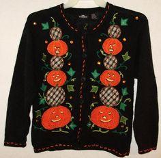 Womens Halloween Fall sweater-Size medium-Cardigan pumpkins-Free Shipping to USA…