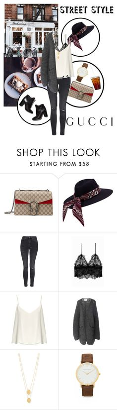"""""""Fall🍂"""" by alice-bb ❤ liked on Polyvore featuring Gucci, Topshop, Anine Bing, Raey, I Love Mr. Mittens, Pierre Hardy and Jennifer Zeuner"""
