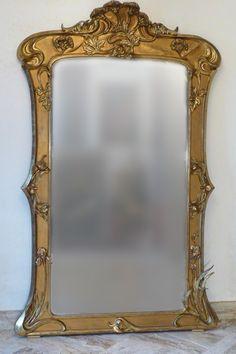 French Art Nouveau period giltwood and composition mirror Art Nouveau, Art Deco, Pinterest Images, Beveled Glass, French Art, Antique Furniture, Robin, Period, Composition