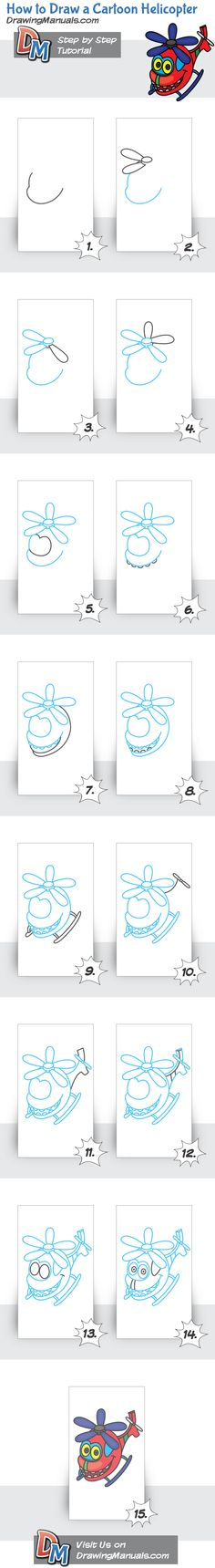 Try to draw this cute cartoon helicopter, following this easy drawing tutorial. http://drawingmanuals.com