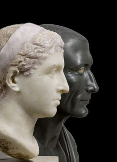 Busts of Kleopatra VII and Julius Caesar, dated to the 1st century BCE. The bust of Kleopatra is made of marble, and the bust of Julius Caesar is of green basalt. Both are currently located in the...