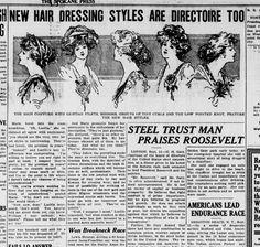 1908 New Hair Dressing Styles. Spokane Press Sep 12, 1908. Chronicling America