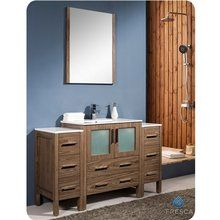 """Fresca FVN62-123012WB-UNS Walnut Torino 54"""" Free Standing Vanity Set with Engineered Wood Cabinet, Ceramic Top, 1 Integrated Sink, 1 Mirror, and 1 Single Hole Faucet - FaucetDirect.com"""
