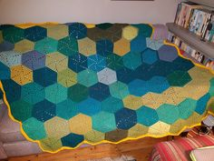 The trapezoid hexagon blanket; so called because I sewed it together wrongly and that's the shape it turned out!
