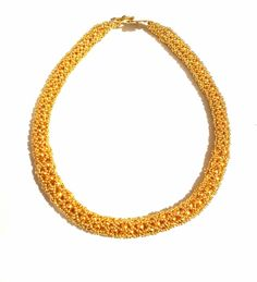 Gold necklace with metal beads made by Manufaktura Leo Beaded Necklace, Gold Necklace, Metal Beads, How To Make Beads, Leather Working, Leo, Jewelry Making, Handmade, Beaded Collar