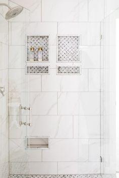 Step Inside a Fresh and Classic Tulsa Home Bathroom Niche, Master Bathroom Shower, Modern Master Bathroom, Shower Niche, Bathroom Ideas, Large Tile Shower, Concrete Bathroom, Shower Tiles, Master Bathrooms
