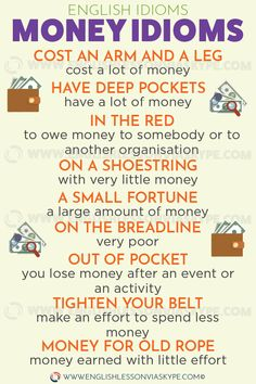 Learn English 164592561369348448 - English Idioms related to Money. On a shoestring. Cost an arm and a leg meaning. English idioms in context. Source by salasar Advanced English Vocabulary, English Vocabulary Words, Learn English Words, English Phrases, Vocabulary Pdf, Common English Idioms, English Grammar Rules, Spanish Grammar, English Writing Skills