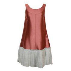 Oscar De La Renta Burnt Brown & Canvas Flare Dress - 2
