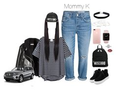 """""""Taking the kids out for their last day of fun🎉 Shawn's making me drive😐"""" by yourfavetwins ❤ liked on Polyvore featuring WithChic, Moschino, Alex and Ani, Miss Selfridge, Mark Broumand, Lime Crime, Mercedes-Benz, hello2017 and WorkHardAll2017"""
