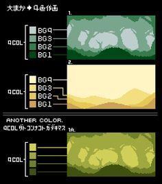 """どんつく、 on Twitter: """"ドット絵「背景大まか4色作画説明」使用色数を4色とし 近景 →BG1 中景 →BG2 遠景 →BG3 最遠景→BG4 各階層を1色で作画します。光源、奥行きが何段階か決めてから作画すると混乱しにくいかと  #pixelart https://t.co/oPUrmPFuBh"""""""