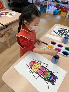 Kindergarten Art Projects, School Art Projects, Spring Art Projects, 2nd Grade Art, Art Lessons Elementary, Kids Art Lessons, Ecole Art, Insect Art, Preschool Art