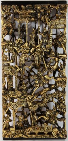 Chinese Gilt Wood Carved Panel : Lot 127