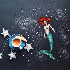 [The Mermaid]  Every night she sang a song, every night that song turned into a myriad of rainbow bubbles that slowly reached the surface. * * And happy birthday Fatma, this is a gift for you from @papihaven  * Have a good day you all, my friends.  #littlecoffeestories