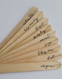 herb garden markers - printed on antique letterpress - pack of 9 - rustic - gardener gift - calligraphy - country - hand printed