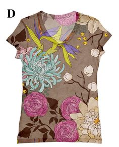 woman flower print  top, t shirt and tank  XS - Plus size(115)