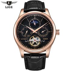 59.99$  Buy here  - 2017 Casual Men Watches Luxury Top Brand LIGE Sport Watch Leather Gold Clock Men Tourbillon Automatic Wristwatch With Moon Phase