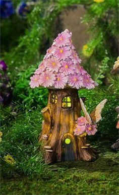 New Creative Spring Petals Solar Fairy House - Multi Color - Evergreen Enterprises fairy garden gnome Solar Fairy House, Fairy Garden Houses, Gnome Garden, Fairy Crafts, Garden Crafts, Garden Art, Garden Design, Fairy Village, Clay Fairies