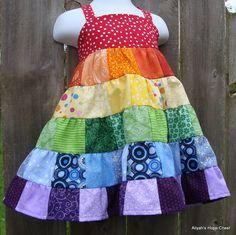 Patchwork Tiered Rainbow Dress