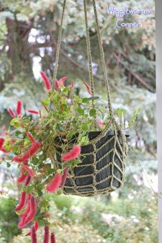 how to crochet hanging pot holder | Wiggleworms Corner | Crocheted Hanging Plant Holder - Style two ...