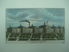 The Iowa Hospital for the Insane , Independence, IA Unknown, architect(s). From the American Architect and Building News, by 5 inches. VG+ condition with light browning along the edges and Psychiatric Hospital, Browning, Hospitals, Asylum, Hand Coloring, Iowa, Childhood, Memories, American