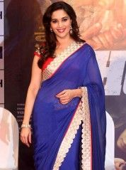 Charming Madhuri in blue saree: KSR2384