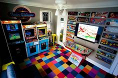 Arcade Classics is your destination for classic arcade games for sale. Check back often to see the latest arcade games for sale or call Arcade Retro, Sala Nerd, Deco Gamer, Gamer Bedroom, Arcade Room, Nerd Room, Video Game Rooms, Video Games, Game Room Design