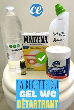 Nettoyage : Produits Faits-Maison Homemade toilet gel with white vinegar, bicarbonate, cornstarch to Bye Bye, Diy Cleaning Products, Cleaning Hacks, Diy Nightstand, Green Life, Diy Table, Clean House, Diy Design, Messages