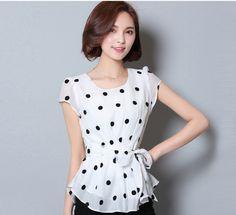 Summer chiffon tops large yard chiffon shirt for women Chiffon Shirt, Print Chiffon, Chiffon Tops, Polka Dot Print, Polka Dots, Korean Summer, Summer Shirts, Plus Size Tops, White Tops