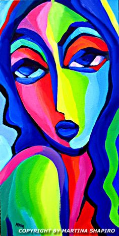 Fauve Girl On Blue, contemporary original oil painting by artist Martina Shapiro, abstract female portrait fine art
