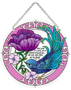 Suncatcher-LC080R-Teal Swallow and Purple Peony/But you, O Lord, are the shield around me. Ps. 3:3 - Teal Swallow and Purple Peony/But you, O Lord, are the shield around me?the one who lifts up my head. Ps. 3:3