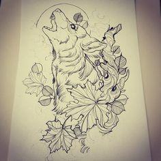 Maple Wolf Tattoo Design