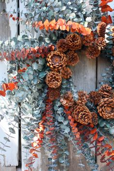 Natural Preserved Eucalyptus Wreath, Green and Rust, Pinecones