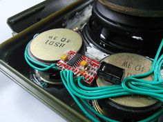 DIY Tough Bluetooth Boombox (Lasts : 12 Steps (with Pictures) - Instructables Woofer Speaker, Speaker Amplifier, Electronic Circuit Projects, Electrical Projects, Cool Electronics, Electronics Projects, Diy Boombox, Diy Bluetooth Speaker, Ammo Cans