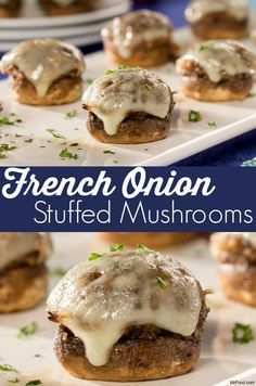 Crunchy inside and cheesy outside, these French Onion Stuffed Mushrooms make for a great holiday party appetizer. And they're ready in just 30 minutes! Soup Appetizers Soup Appetizers dinners carb Soup Appetizers Appetizers with french onion Holiday Party Appetizers, Finger Food Appetizers, Finger Foods, Appetizer Recipes, Soup Appetizers, Easy Vegetarian Appetizers, French Appetizers, Mushroom Appetizers, Tapas