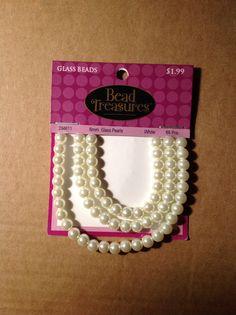 Bead Treasures 6mm Glass Pearls White 65 pcs.  Hobby Lobby