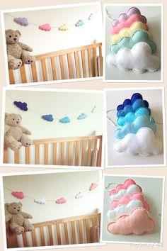 Cloud Bunting Felt Cloud Garland Girls Nursery Decoration