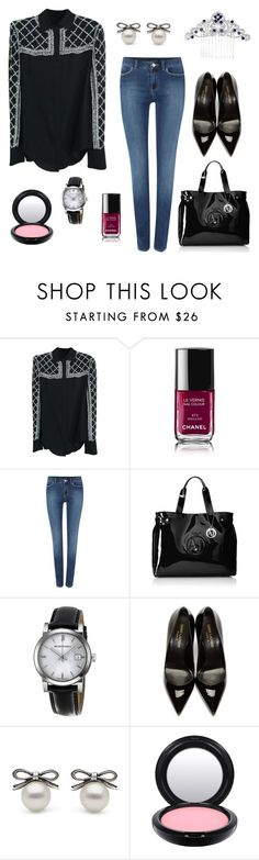 """Senza titolo #73"" by missmarella on Polyvore featuring moda, Balmain, Chanel, Armani Jeans, Burberry, Yves Saint Laurent, MAC Cosmetics, women's clothing, women e female"