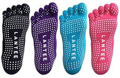 Lantee Yoga Toes Socks Non Slip Pilates Socks Full Toe with Grips Cotton Pack of 4 -- Details can be found by clicking on the image.