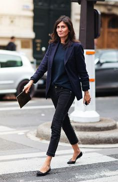 "Simplicity: French women wear basic pieces in timeless colors. Solid blazers, shirts, and pants all complete the ""Less is more"" look of the francophiles."